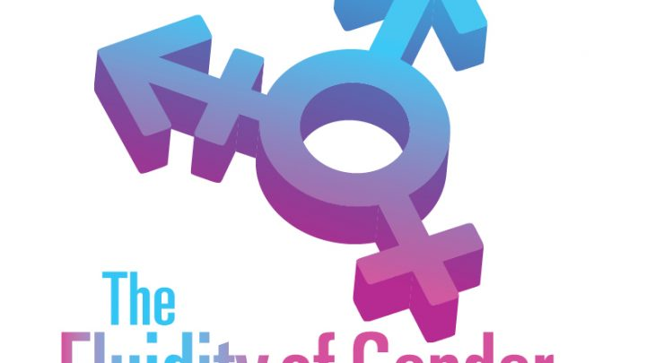 """The transgender symbol appears above text that reads """"The Fluidity of Gender"""". Both the symbol and text are coloured pink, blue, and purple."""