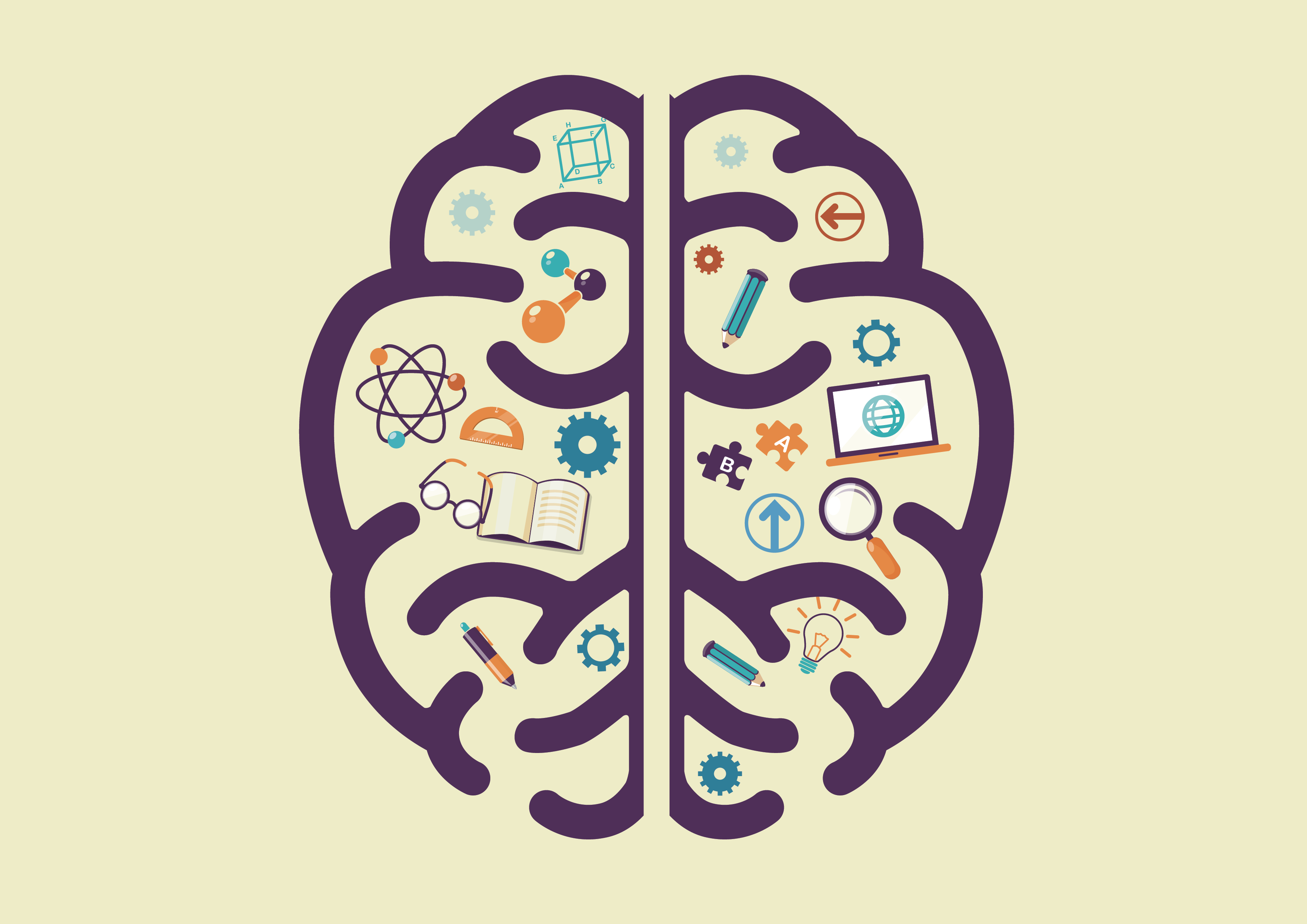 A 2-D, overhead view of a cartoon brain appears on a beige background. Inside the brain, there are symbols for various objects (including molecules, glasses, a book, puzzle pieces, a laptop, and more)