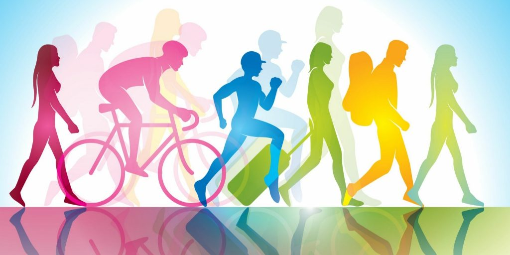 Multicoloured silhouettes of people doing different activities. From left to right: A woman walking (dark pink), a man biking (light pink), a boy running (blue), a woman pulling a suitcase behind her, a man hiking with a backpack (yellow), and a woman walking (green)