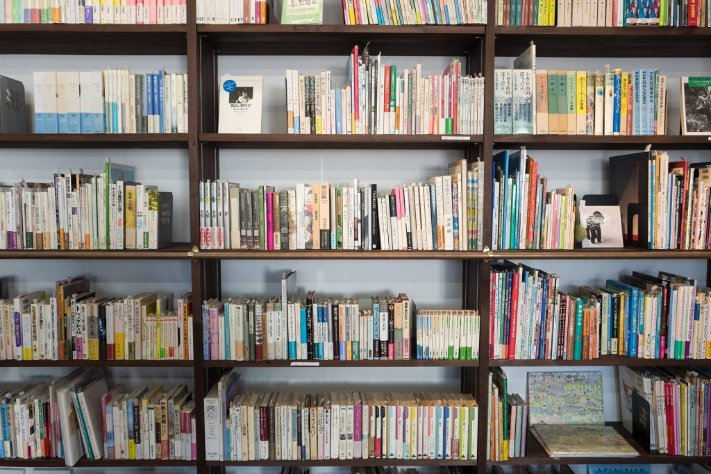 A fully stocked wall of bookshelves.