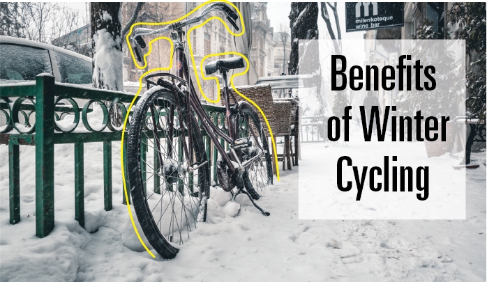 """Banner reads, """"Benefits of winter cycling"""". Background image depicts a bike parked by a green fence in snowy downtown Hamilton."""